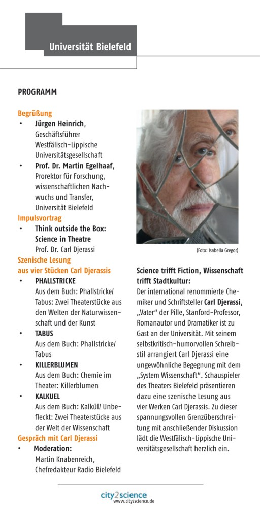 Flyer Carl Djerassi_Science in Theatre 2012.indd